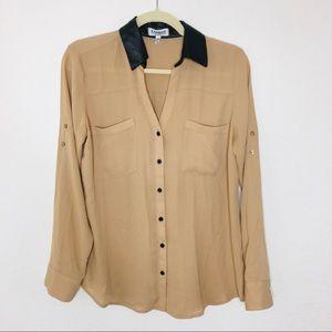 Express The Portofino Shirt Tan and Black medium